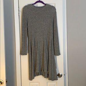 Gray waffle knit long sleeve dress